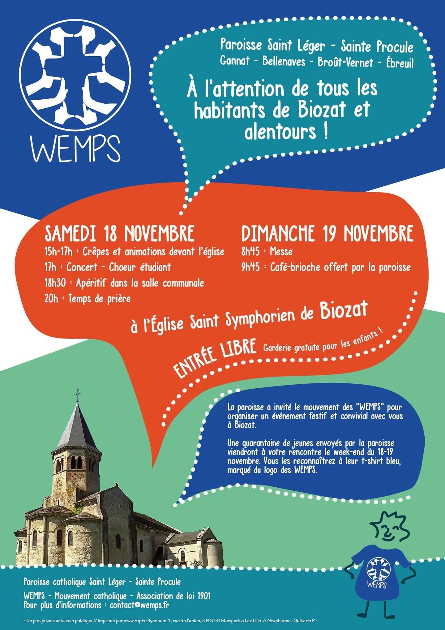 WEMPS à Biozat le 18 et 19 novembre