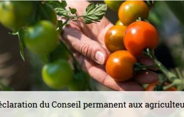 Déclaration du Conseil permanent aux agriculteurs