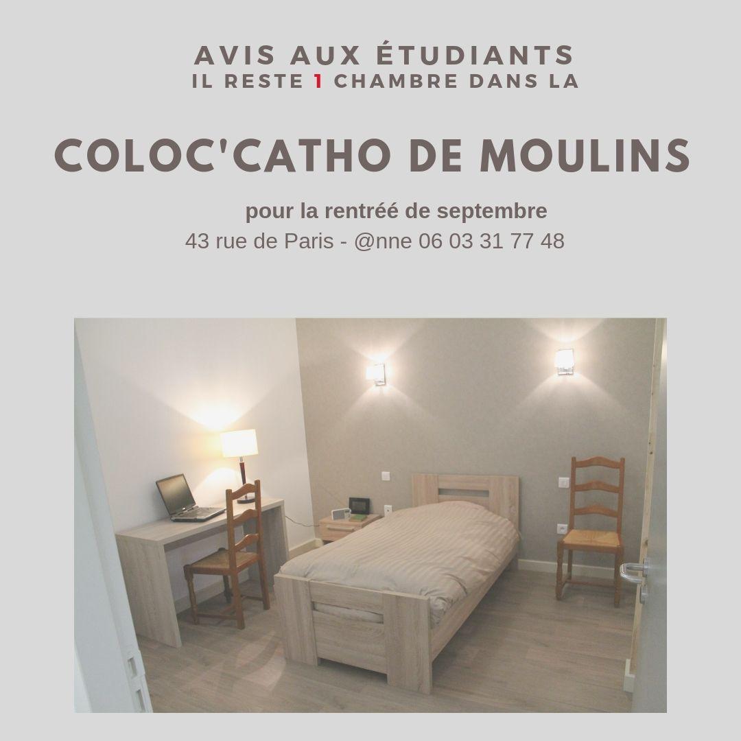 ÉTUDIANTS : 1 CHAMBRE A LA COLOC'CATHO