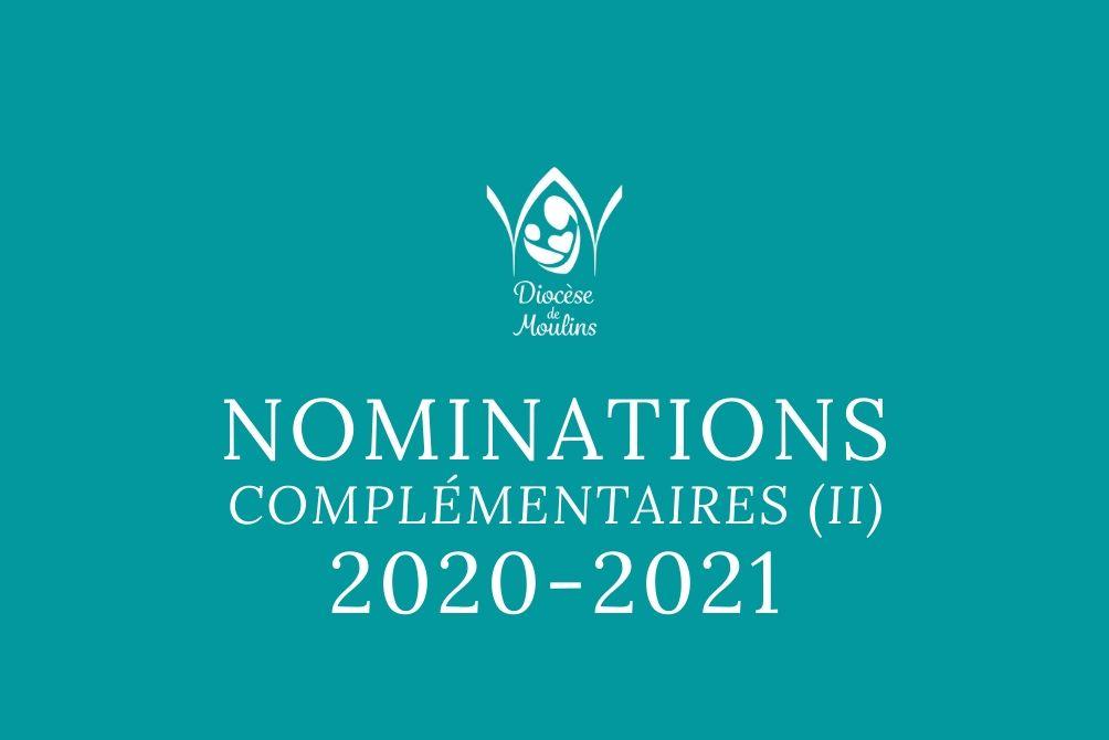 Nominations complémentaires (II) - pour septembre 2020